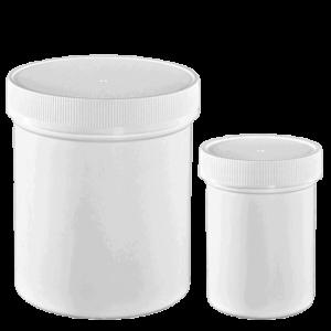 white plastic jar with screw lid